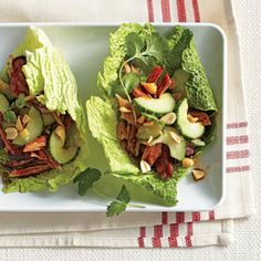 Shortcuts with Barbecue: Korean Cabbage Wraps with Sweet-and-Sour Cucumber Salad