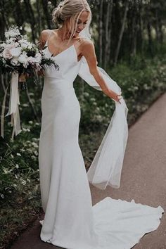 Buy Simple Spaghetti Straps Mermaid Beach Wedding Dresses V Neck Satin Boho Bridal Dresses in uk.Rock one of the season's hottest looks in a burgundy homecoming dress or choose a timeless classic little black dress. V Neck Wedding Dress, Cute Wedding Dress, Backless Wedding, Long Wedding Dresses, Long Sleeve Wedding, Lace Wedding, Gown Wedding, Mermaid Wedding, Wedding Rings