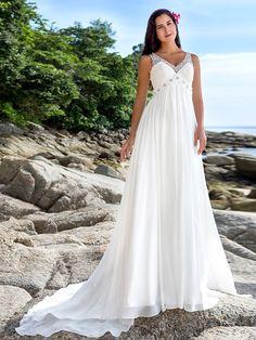 Sheath/Column Plus Sizes Wedding Dress - Ivory Chapel Train V-neck Chiffon - USD $159.99