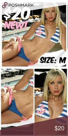 "Pin Up Clothing Sailor Bikini Anchor Striped ITEM #165 PRICE: $20 BUST: 36"" WAIST: 28"" CONDITION: NEW WITH TAGS  BRAND: SKINNY DIP Skinny Dip Swim Bikinis"