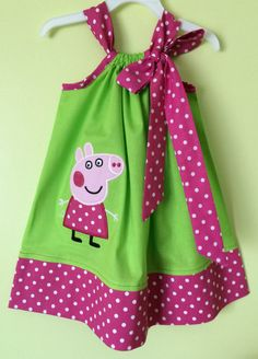 Custom Made Pillowcase Dress- Lime Solid with Peppa Pig Machine Embroidered Applique & Pink Bebe Dot Hem and Ribbon- NB-8y/o