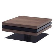 Coffee table / contemporary / oak / lacquered steel