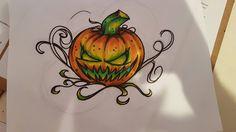 Pumpkin Halloween Tattoo pre-drawing http://ift.tt/2cZSJ2D