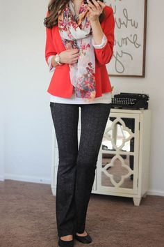 Rebekah Blazer from Kensie and Jordyn Bootcut Pant from Liverpool - Stitch Fix. Love it all! stitch stylist-I have two red Blazers, but would love to see these pants in a box!