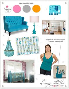Love the color palette here- the wallpaper choice with the turquoise crib.  Maybe if baby #2 is a girl?
