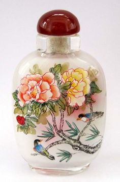 Chinese Inside Hand Painted China Style Flowers Birds Snuff Bottle