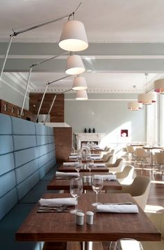 Restaurant and Bar Interior Design Elliot Contemporay Table and Chairs Lighting