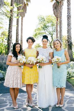 mixed bridesmaids dresses, photo by Love Katie + Sarah http://ruffledblog.com/bellarine-peninsula-wedding #bridesmaid #dresses #wedding