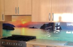 Beach and water scenes are a popular choice for digitally printed glass