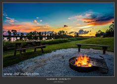 Summer Serenity. A warm humid evening just after sunset, with a fire ready for roasting marshmallows & weenies. Prints available at www.JNFineArt.com