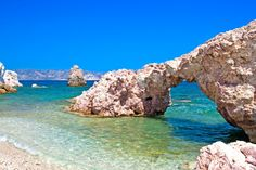 Beautiful natural arch on this lonely beach,Milos island,Kastanas