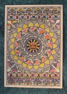Items similar to Hindu Sun God SURYA madhubani painting on Etsy Madhubani Paintings Peacock, Madhubani Art, Indian Art Paintings, Ancient Indian Art, Sun Art, God Pictures, Pencil Art Drawings, Art Themes, Acrylic Colors
