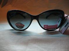 "60964a3d9da Foster Grant Elegance ""Kate"" Blue Lens 100% UVA   UVB Black Designer  Sunglasses  FosterGrant  Designer"