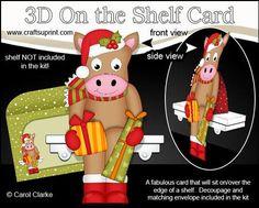 3D On the Shelf Card Kit Little Christmas GiGi Horse on Craftsuprint - View Now!
