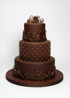Chocolate & Gold Three Tier - This is a mini version of my monster chocolate and gold wedding cake (LOL). It's nice to do the same design more than once so that you can learn from your mistakes and make it easier!
