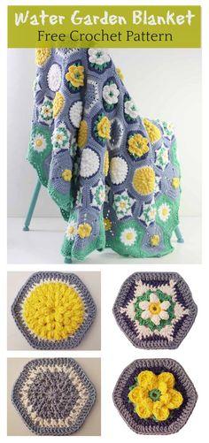 Hexagon Water Garden Blanket Free Crochet Pattern #freecrochetpatterns