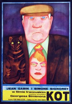 Polish Movie Poster by Maria Ihnatowicz, 1973, 'Le Chat' by P. Granier-Deferre with Jean Gabin & Simone Signoret.