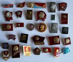 SOVIET RUSSIAN BADGE PIN medal USSR LENIN KPSS VLKSM, 30 pcs