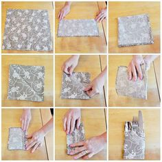 Add an extra special touch to any table with this quick and easy napkin folding idea! Easy Napkin Folding, Table Etiquette, Christmas Thoughts, Paper Napkins, Home Deco, Napkin Rings, Paper Art, Origami, Crafts For Kids