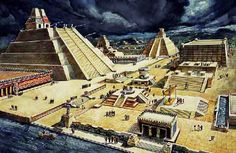 Reconstruction of tenochtitlan (Mexico City Zocalo) All the temple stones were pretty much torn down to make the Cathedral, Presidential Palace etc.)