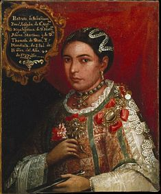 "What symbols of social status do you notice in this portrait? [""Portrait of an Indian Lady, Daughter of a Cacique. 1757. Museo Franz Mayer, Mexico City, Mexico."" <http://www.smith.edu/vistas/vistas_web/gallery/detail/portrait_cacica_det.htm#> 11 July 2015.]"
