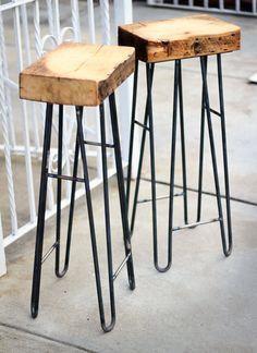"Stools - Rclaimed Wood - Steel Hairpin Leg - Spruce Barn Wood - ""The Flatiron"" Iron Furniture, Steel Furniture, Wooden Furniture, Furniture Projects, Home Furniture, Wood Steel, Wood And Metal, Industrial Design Furniture, Furniture Design"
