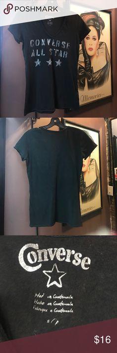 Converse All Star black v neck t shirt Converse All Star black v neck t shirt. 100% cotton. Super soft- no flaws! Converse Tops Tees - Short Sleeve