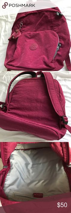 Backpack Big backpack with room for laptop. The color is more like a wine color. Like new! No stains. Kipling Bags Backpacks