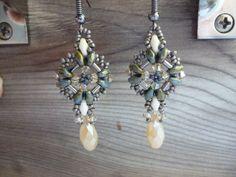 Diamond Drop SuperDuo Earrings by WescottJewelry on Etsy
