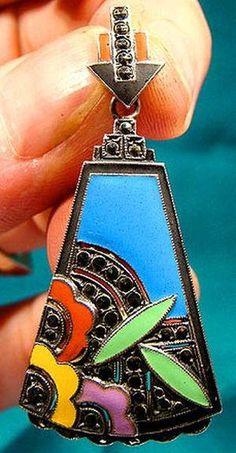 Outstanding Art Deco STERLING Silver ENAMEL Marcasites Pendant