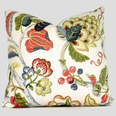 Stylized Floral and Artichoke Pillow Cover 18x18. $45.00, via Etsy.