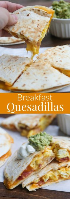 Breakfast Quesadillas with bacon, egg and cheese. Great for Sunday morning breakfast!