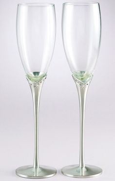 Brushed Silver Plated Tulip Stem amd Crystal Toasting Glasses $38