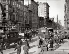 The Bowery Boys: New York City History. Looking up Fifth Avenue and 42nd Street, 1910. This is the corner with the gigantic glass H&M Store on it today.