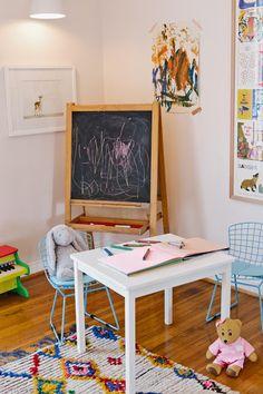 Modern eclectic girl's bedroom; mini Bertoia; photography; Moroccan rug; Jennifer Muirhead Interiors