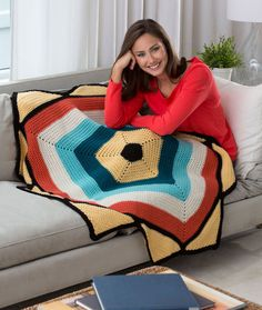 To the Point Throw Free Crochet Pattern from Red Heart Yarns
