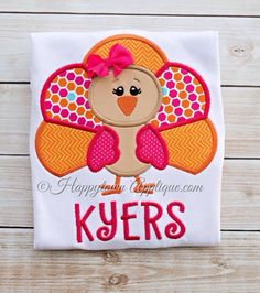 Turkey Girl Machine Embroidery Applique Design by HappytownApplique on Etsy https://www.etsy.com/listing/164957282/turkey-girl-machine-embroidery-applique