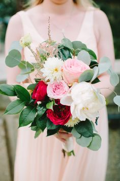 Pink and red bouquet: http://www.stylemepretty.com/2014/11/26/glamorous-diy-wedding-at-the-dayton-ohio-art-institute/ | Photography: Jenny Haas Photography - http://jennyhaas.com/