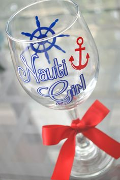 Nauti Girl 20oz Wine Glass by AnchorAvenueDesigns on Etsy, $9.00 #Navy #NautiGirl #Anchor