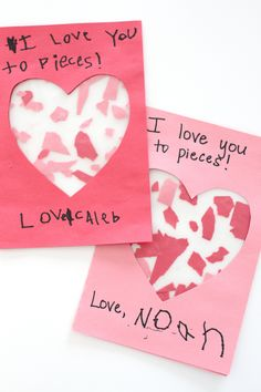 "This simple ""I Love You to Pieces"" Valentine Craft is the perfect personalized gift for parents, grandparents, and friends!  It is also great for fi"