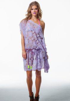 Outstanding Crochet: Techno Pastel cover-up from The La Boheme. Vanessa Montoro, Crochet Tunic, Crochet Clothes, Crochet Dresses, Anna Kosturova, Knit Dress, Dress Skirt, Summer Knitting Projects, Danish Fashion