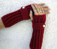 Cranberry red long ribbed with wrist strap by ValkinThreads, $26.00