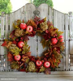 Create an affordable copycat Apple Spice Wreath using items from the craft store to welcome fall. I'm welcoming my favorite season with an Apple Spic Elegant Fall Wreaths, Easy Fall Wreaths, How To Make Wreaths, Mesh Wreaths, Yarn Wreaths, Winter Wreaths, Floral Wreaths, Wreath Fall, Spring Wreaths