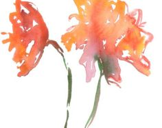 Two Flowers, Watercolor Painting of Flowers, Flower Print, Prints, Watercolor Flowers