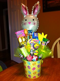 Large Easter candy bouquet with bunny balloon.