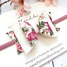 Floral Hair Bow, Wool Felt Bow, Girls Headband, Floral Hair Clip, Floral Fabric Bow, Girls Hair Bow, Flower Headband, Stretchy Headband