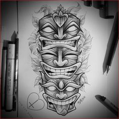 Tiki totem illustration for tattoo Tim van horn TVH Totem Tattoo, Tiki Tattoo, Tattoos Bein, Head Tattoos, Body Art Tattoos, Sleeve Tattoos, Tattoos For Guys, Tatoos, Tattoo Sketches