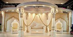 White and gold Rajasthan wedding mandap