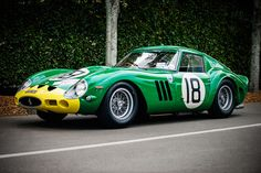 https://flic.kr/p/NtDB3y | Anthony Bamford and Alain de Cadenet - 1962 Ferrari 250 GTO at the 2016 Goodwood Revival (Photo 4) | Here is another shot of this stunning green and yellow Bamford owned Ferrari 250 GTO originally owned and raced by David Piper. Chassis 3767GT has had quite a collection of colour schemes over the years, but is best known in this combination, the same livery as it wore back in 1962.   ________________________________ Dave Adams Automotive Images