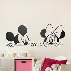 Cartoon Mickey Minnie Mouse Cute Animal Vinyl Wall stickers Mural Wallpaper Baby Room Decor Nursery Wall Decal Home Decor ~ Cute Home Decor ~ Olivia Decor - decor for your home and office. Baby Nursery Art, Nursery Wall Stickers, Wall Stickers Murals, Vinyl Wall Decals, Window Stickers, Sticker Mural, Sticker Vinyl, Nursery Room, Disney Wall Stickers